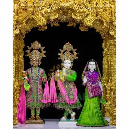 Radha Krishna Balram Statue White Marble Radha Krishna