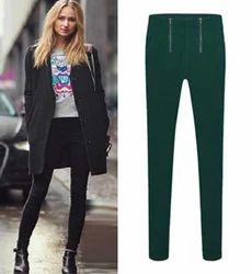 Green Spandex Slim Double Zipper Pant