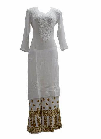 9eac5b0dba 46 Inches White Kashmiri Needle Craft Soft Crepe Cotton Kurta, Rs ...