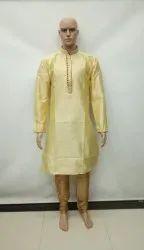 Yellow Wedding Wear Mens Kurta Pyjama