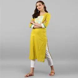 Mustard Yellow Pure Cotton Kurta With Pant(SET003)
