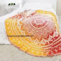 Ombre Mandala Round Roundie Beach Blanket Throw Hippie Bohemian Tapestry Picnic Beach Towel Yoga Mat