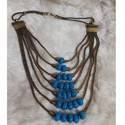 Oxdised German Silver Neckpiece With Blue Beads