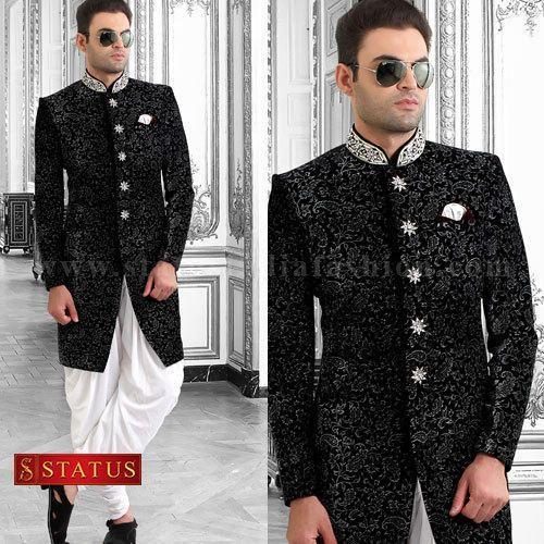 03d94a7f06 Black Velvet Indo Western Suit at Rs 17030 /piece | Mens Indo ...