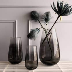 Cylindrical Black Smoked Ombre Effect Glass Vase
