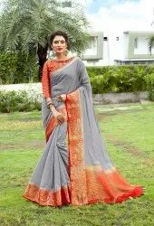 Ladies Linen Cotton Saree Length: 5.5 m