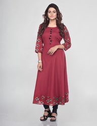 Rayon and Cotton Maroon Printed A Line Kurti, Size: M to XXL