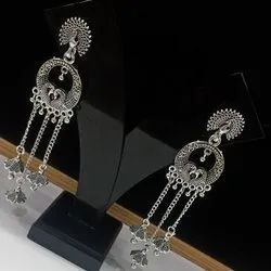 Silver Plated Earring, Shape: Long Size Round