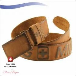 Swiss Military Genuine Leather Belt With Leather Wrapped Buckle