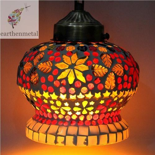 LED And Flourescent Handcrafted Multicoloured Turkish Crown Mosaic Glass  Lamp