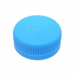 Round Light Blue Plastic Bottle Screw Cap