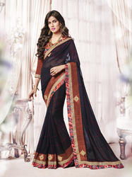 Georgette Black Color Indian Saree