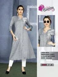 Linen Kurtis With Embroidery