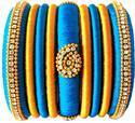 Blue And Yellow Silk Thread Bangle Set