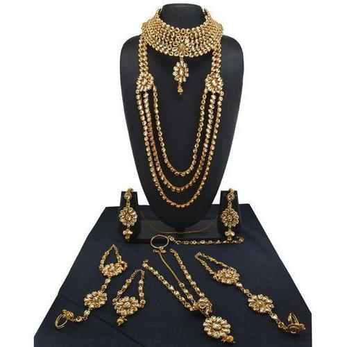14ef69ecec Golden Indian Bridal Jewelry Kundan Set In High Gold Polish Rs 4505