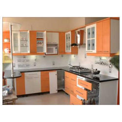 Solid Surface Classic Colored Modular Kitchen