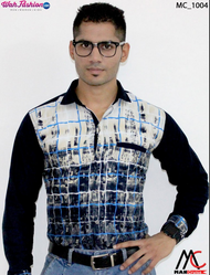 Cotton Man Cruise Printed Navy Blue And Blue Checked Casual Shirt, Size: XL
