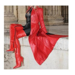 Red And Black Designer Leather Catsuit