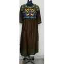 Flower Mirror Embroidered Kurti