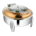 Round Rose Gold Glass LID Chafer W Curved Legs