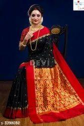 Unstitched Unstitch Kanjivaram Banarasi Silk Saree, Handwash, Free
