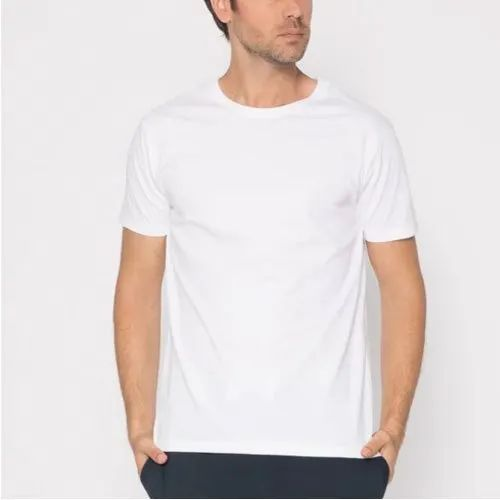 0d82cdfc4 Plain Round Neck Gazelles White Color Cotton T Shirt, Rs 140 /piece ...