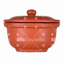 Terracotta Clay Serving Bowl with Lid