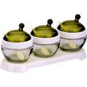 Green Elegant Glass Bowl Set