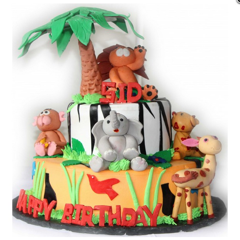 Jungle Safari Theme Birthday Party Cake