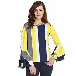 Round Neck Casual Yellow Striped Flute Layered Sleeves Top