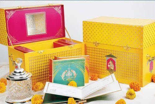 Multicolor Box Invite Divya & Ankur Wedding Invitation Card