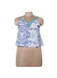 Ladies Cotton Printed Sequins Top, Size: S