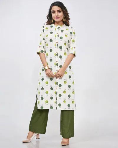 Woman Stitched Cotton Flex Print Straight Polka Dots Kurti