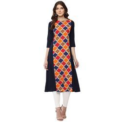 Womens 3/4th Sleeve Crepe A-Line Kurtis