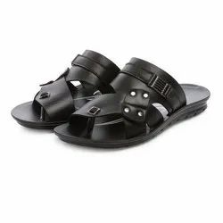 Mens Black Front Covered Stripped Casual PU Slippers