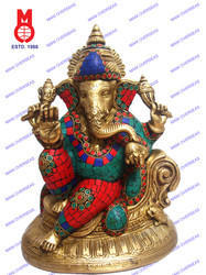 Lord Ganesh Sitting On Designer Base W/ Stone Statue