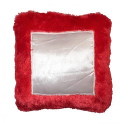Square Red Fur Pillow