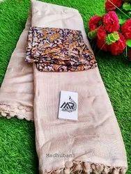 Casual Plain Linen Jute Cotton Blouse Concept with Pumpum Saree