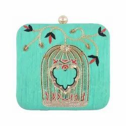 Azzra Designer Green Zardosi Work Clutch