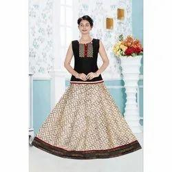 e49dc4a5e4 Printed Sleeveless Girls South Indian Pattu Pavadai Skirt Top ...