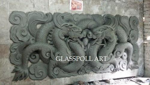Glasspoll Art Multi Colour Fiberglass Chinese Dragon Wall Art, Rs ...