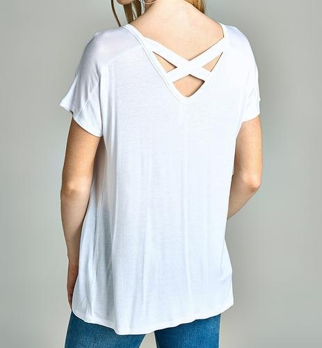 6111156a Private Label (oem) Cotton Ladies Criss Cross Back V Neck T Shirt ...