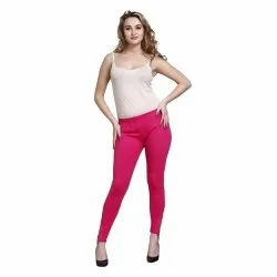 Peacock Patch Dark Pink Cotton Leggings, Size: S-XXL
