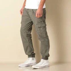Cotton Gray Mens Cargo Pants