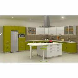 Pvc (Frame) l Shape Steel Chef Top Modular Kitchen