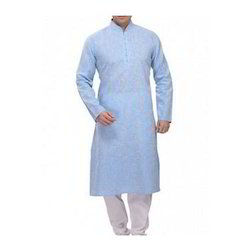 Light Blue And White Cotton Mens Designer Kurta Pajama
