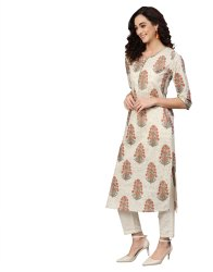 Yash Gallery Women's Cotton Cambric Sequin Work Straight Kurti