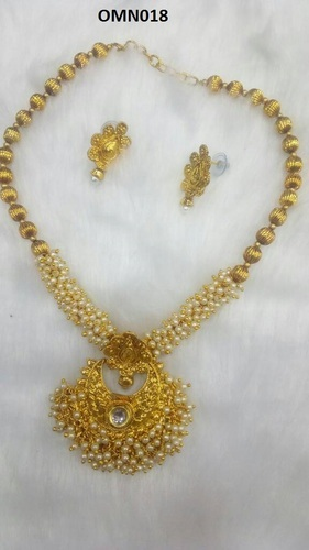 6170787b0dc9b Guttapusalu Gold Plated Pearl Necklace Set