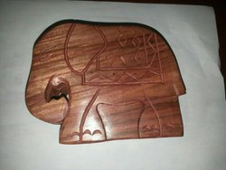 Brown Polished Wooden Fajal Elephant Box
