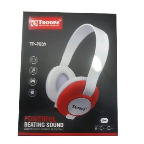 White and Red Wireless TP-7039 Troops Headphones, Packaging Type: Box